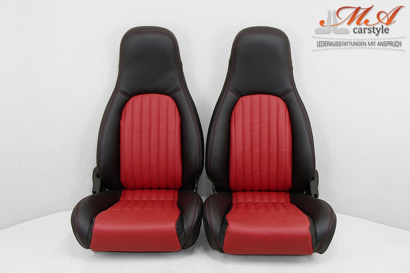 ledersitze mazda mx 5 na miata echtleder schwarz rot red 4611 rot. Black Bedroom Furniture Sets. Home Design Ideas
