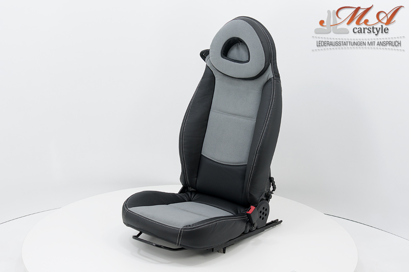 """Seat covers / upholstery """"2-in-1"""" [Smart Fortwo 450/ Roadster 452 45 kW (61 HP) no Airbag] Black (artificial leather)-Gray (Carabu 77)-Silver"""