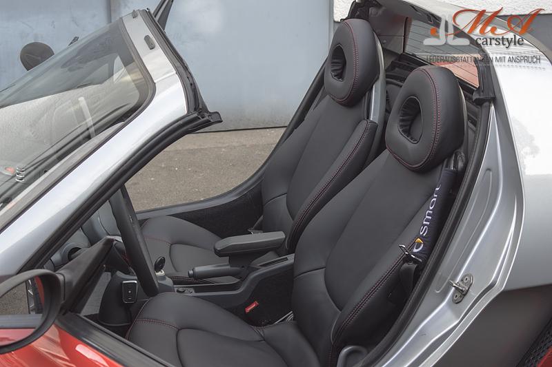 neu beziehen der 2 sitze mit echtleder smart roadster 452. Black Bedroom Furniture Sets. Home Design Ideas