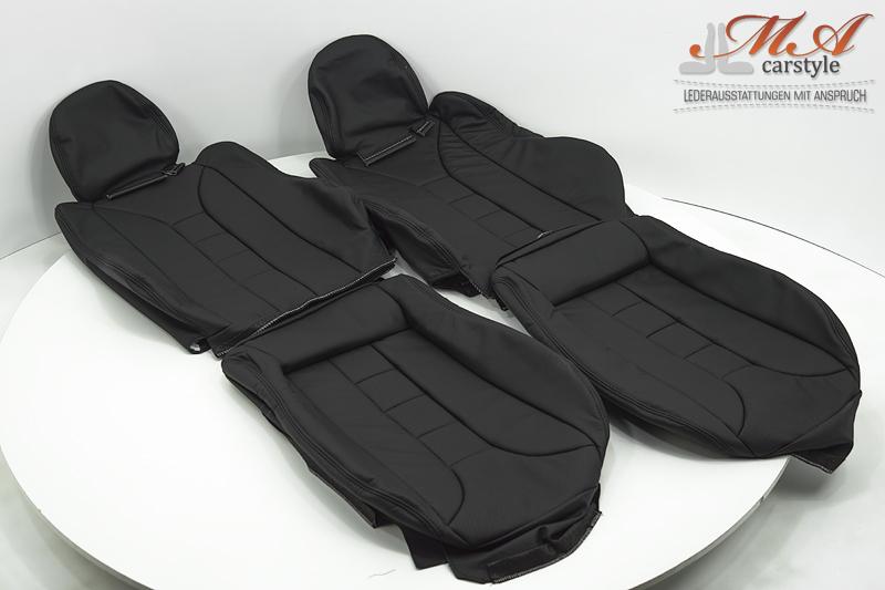 Lederbezüge für Sportsitze [Honda CRX] Echtleder Schwarz-Sc