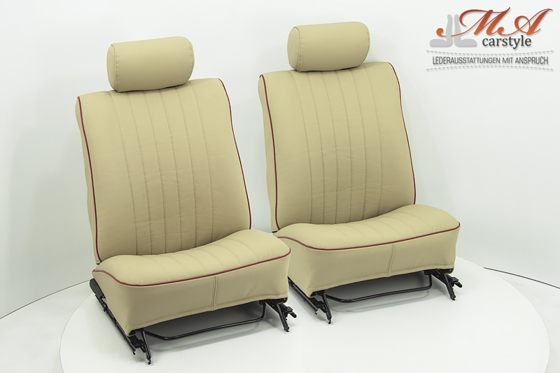 Re-upholstering 2 seats with leather [Renault R5] Beige (4951)-Beige (4951)-Piping (Red)