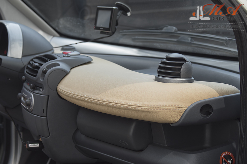 Leather interior: re-upholstering for seats, door panels inserts and dashboard [Smart fortwo 450] Beige (Champignon 3413)-Beige (Champignon 3413 I Perforated)-Beige