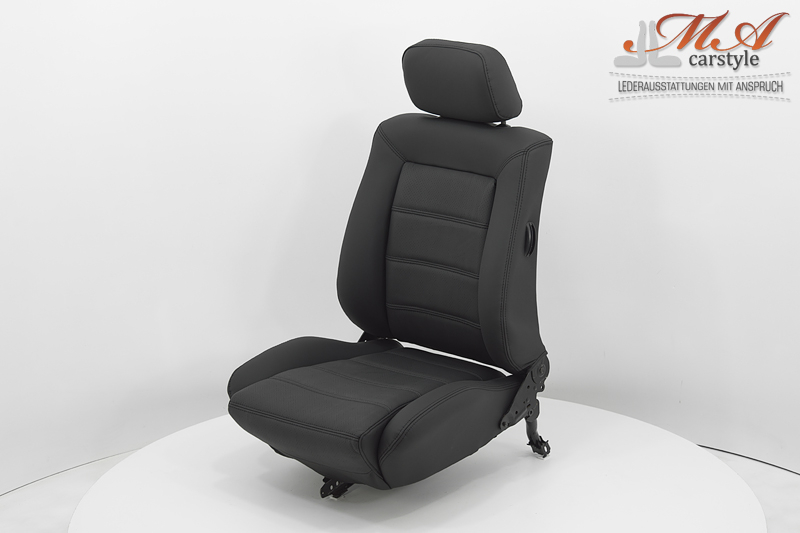 """Re-upholstering """"Pirelli"""" seats with leather [VW Golf I] Black-Black (Perforiert)-Black"""
