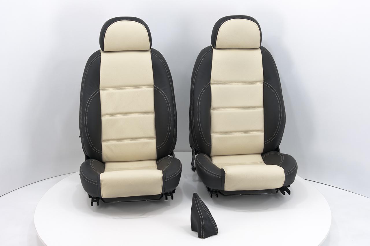 Neu-Beziehen der 2 Sitze mit Echtleder [Fiat Barchetta] Schwarz-Beige