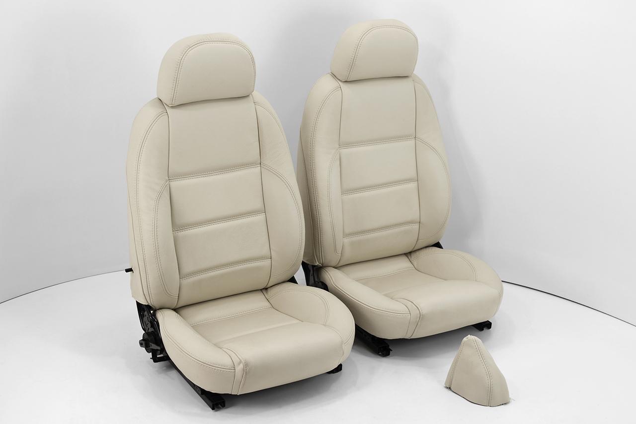 Neu-Beziehen der 2 Sitze mit Echtleder [Fiat Barchetta] Beige (Crema