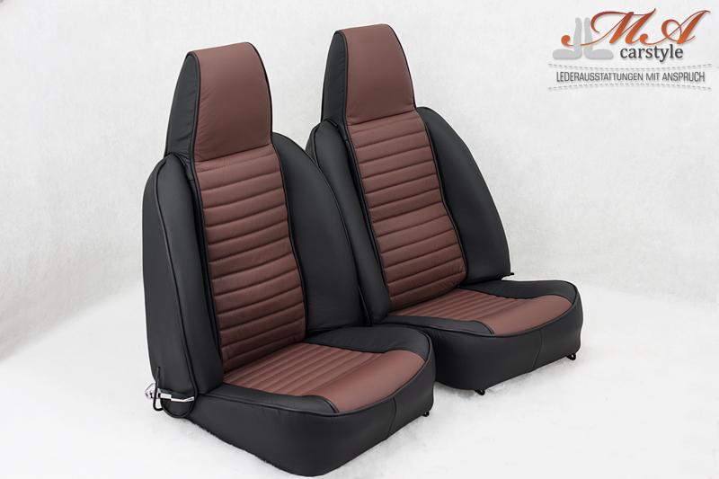 Lederbezüge für Sitze [Triumph TR6 USA] Echtleder Schwarz-B