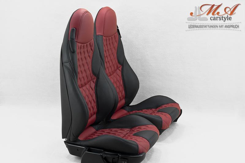 Neu-Beziehen der 2 Sportsitze mit Echtleder [BMW Z3] Schwarz-Rot (Ros