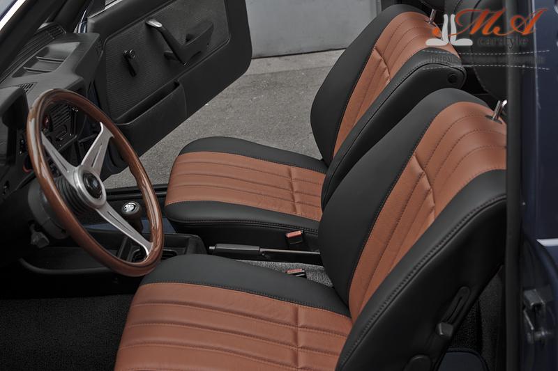 Re-upholstering front and rear seats with leather [BMW 3er E21] Black-Brown (Marron 7245)-Brown