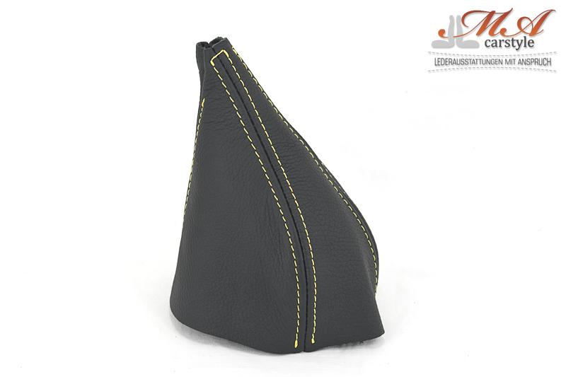 Schaltmanschette aus Echtleder [Fiat Barchetta] Schwarz-Schwarz-Gelb,